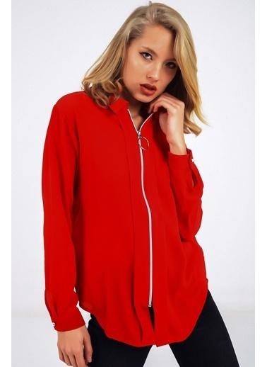 Emjey Önü Fermuarlı Gömlek Kırmızı